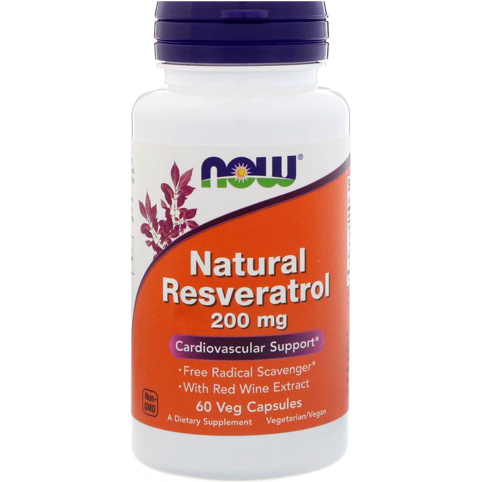 Now Foods, Натуральный ресвератрол, 200 мг, 60 вегетарианских капсул
