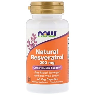 Now Foods, Natural Resveratrol, 200 mg, 60 Veg Capsules