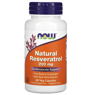 Now Foods, Natural Resveratrol, 200 mg, 60 Veg Capsules