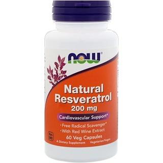 Now Foods, 天然レスベラトロール、200 mg、ベジタリアンカプセル60錠