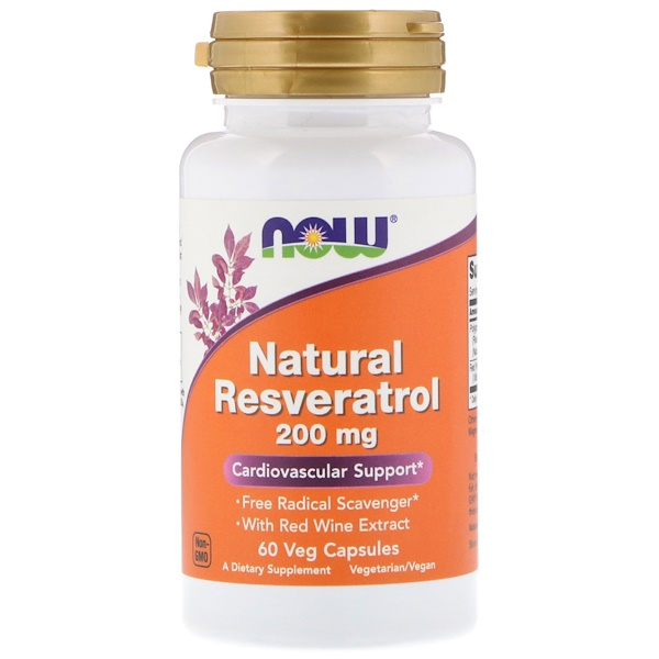 Now Foods, Resveratrol Natural, 200 mg, 60 cápsulas veg