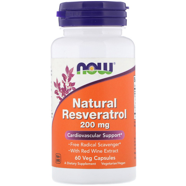 Now Foods, Resveratrol natural, 200 mg, 60 cápsulas vegetarianas