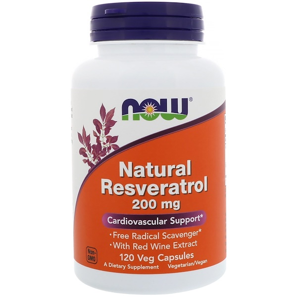 Now Foods, Resveratrol natural, 200 mg, 120 cápsulas vegetarianas