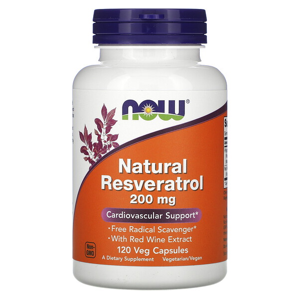 Now Foods, Resveratrol natural, 200 mg, 120 cápsulas vegetales