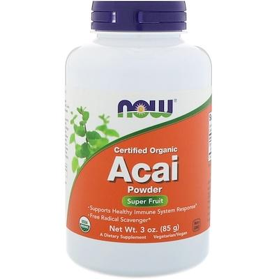 Купить Now Foods Сертифицированный органический порошок асаи, 3 унции (85 г)