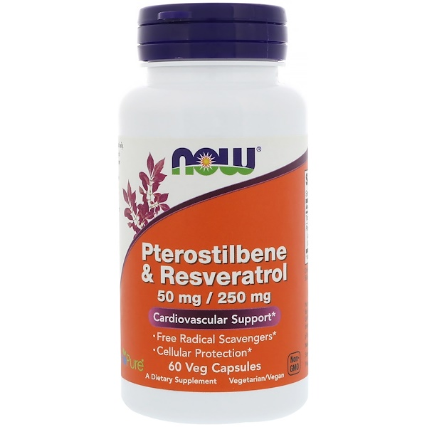 Now Foods, Pterostilbene & Resveratrol, 50 mg / 250 mg, 60 Veg Capsules (Discontinued Item)