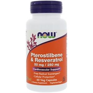 Now Foods, Pterostilbene & Resveratrol, 50 mg / 250 mg, 60 Veg Capsules отзывы