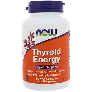 Now Foods, Thyroid Energy, 90 Cápsulas Vegetais