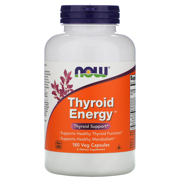 Now Foods, Thyroid Energy, 180 cápsulas vegetarianas