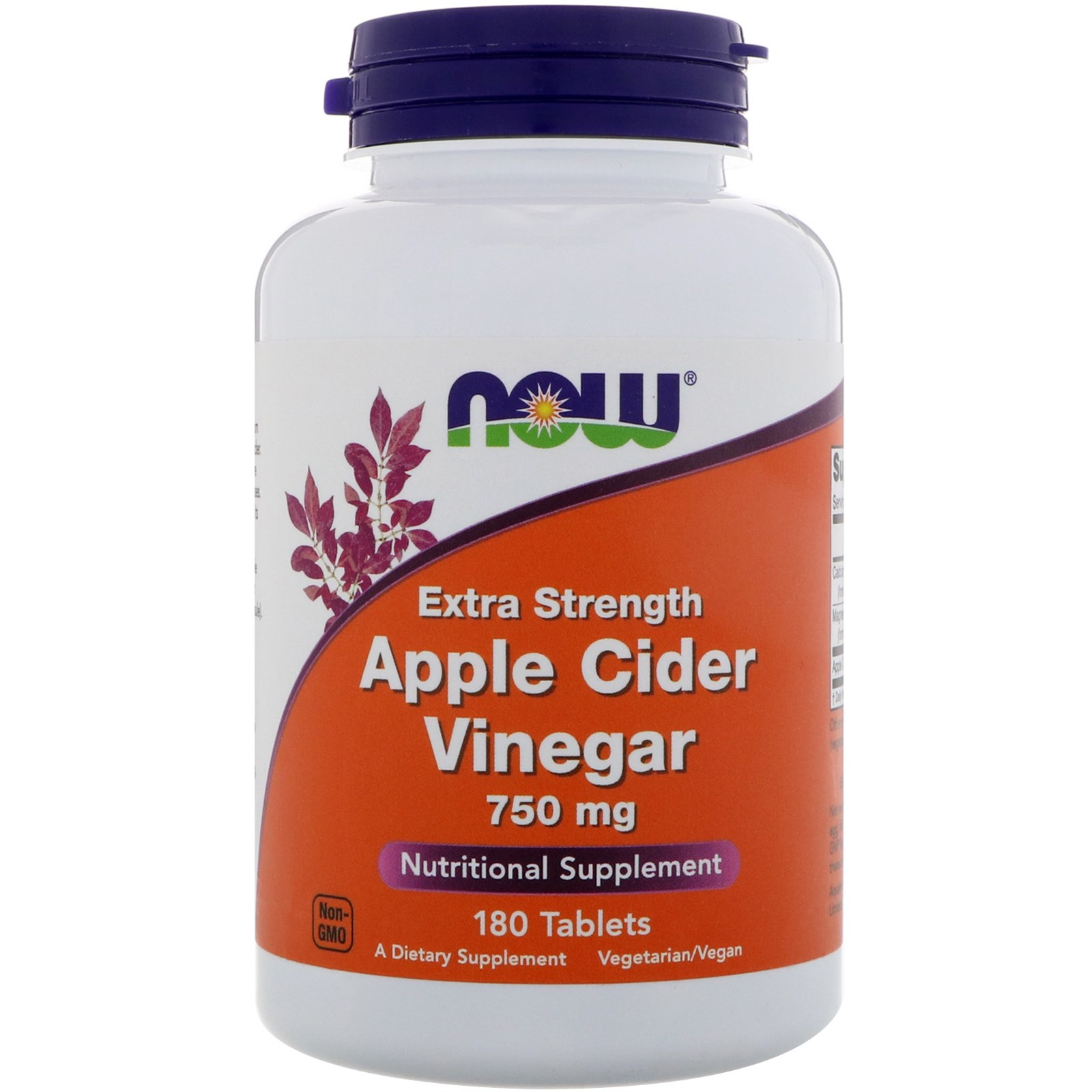Now Foods Apple Cider Vinegar Extra Strength 750 Mg 180 Tablets