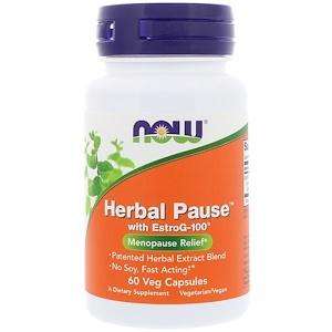 Now Foods, Herbal Pause с EstroG-100, 60 растительных капсул инструкция, применение, состав, противопоказания