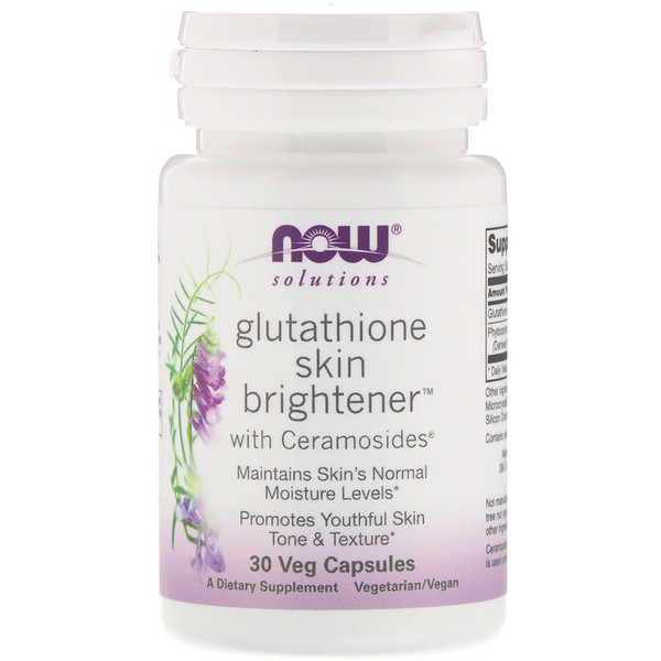 Now Foods, Solutions, Glutathione Skin Brightener, 30 Veg Capsules