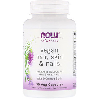 Now Foods, Solutions, Vegan Hair Skin & Nails, 90 Veg Capsules