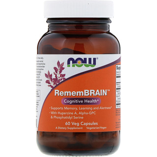Now Foods, RememBrain, Cognitive Health, 60 Veg Capsules