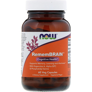 Now Foods, RememBrain, Cognitive Health, 60 Veg Capsules отзывы покупателей