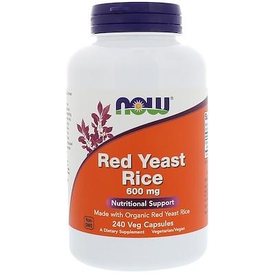Купить Now Foods Красный ферментированный рис, 600 мг, 240 растительных капсул