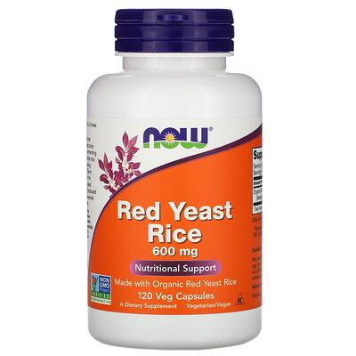 Now Foods Красный ферментированный рис, 600 мг, 120 растительных капсул