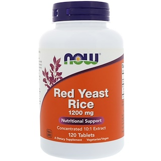 Now Foods, Red Yeast Rice, 1200 mg, 120 Tablets
