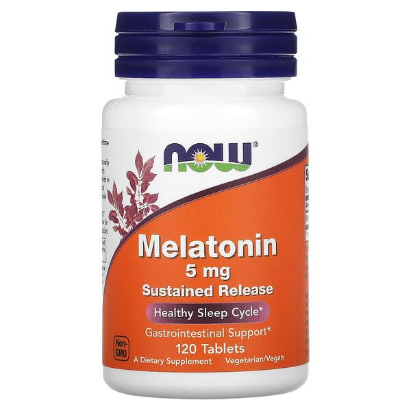 Now Foods, мелатонин, 5мг, 120таблеток