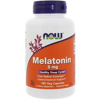 Now Foods, Melatonina, 5 mg, 180 Cápsulas Vegetais