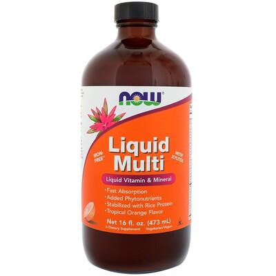 Now Foods Liquid Multi, с ароматом тропического апельсина, 16 жидких унций (473 мл)