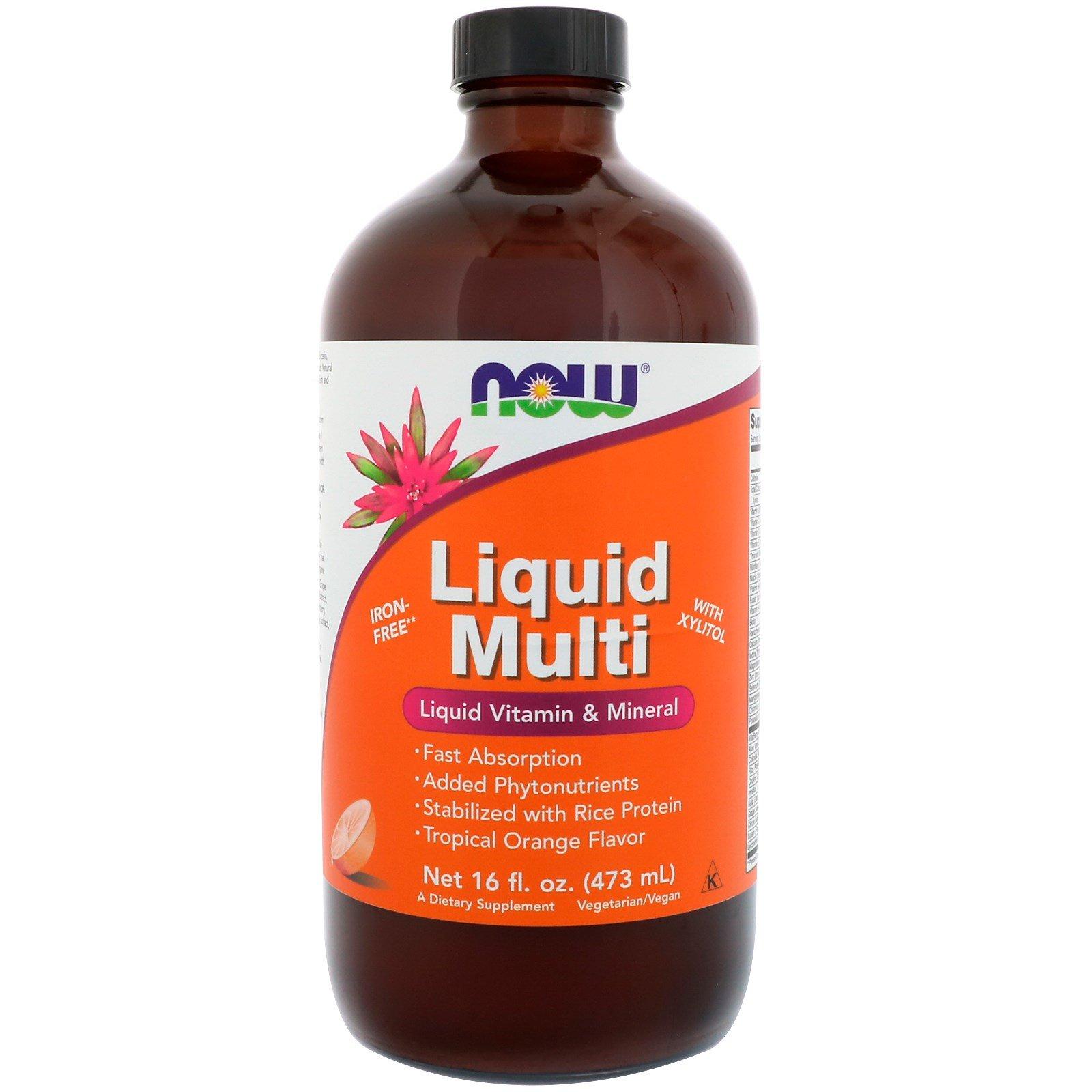Now Foods, Liquid Multi, с ароматом тропического  апельсина, 16 жидких унций (473 мл)