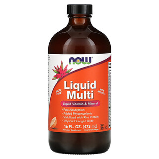 Now Foods, Liquid Multi with Xylitol, Tropical Orange, Iron-Free, 16 fl oz (473 ml)