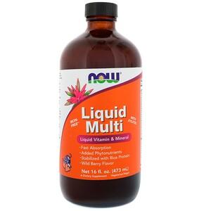 Now Foods, Пищевая добавка Liquid Multi, со вкусом диких ягод, 16 жидких унций (473 мл) инструкция, применение, состав, противопоказания