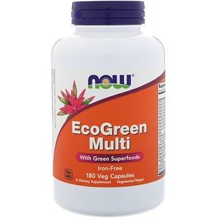 Now Foods, エコグリーンマルチ、鉄分フリー、ベジタリアンカプセル180錠