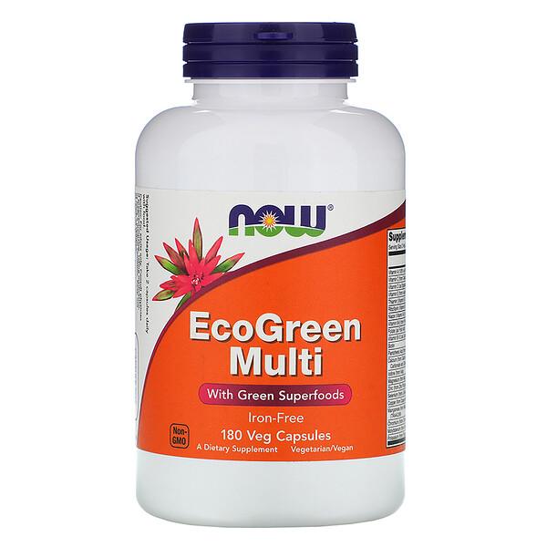 Now Foods, EcoGreen Multi, Sin hierro, 180 cápsulas vegetales