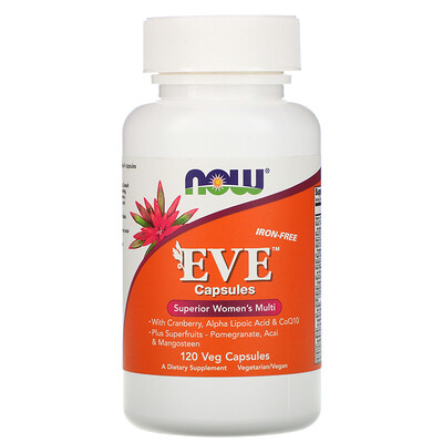 Капсулы Eve, качественные мультивитамины для женщин, без железа, 120 растительных капсул now foods diet support поддержка диеты капсулы 120 шт