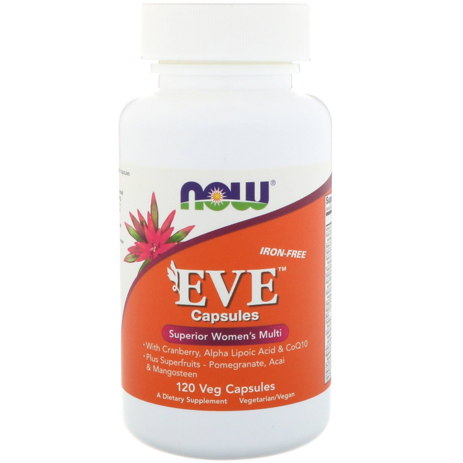 Now Foods, Капсулы Eve, качественные мультивитамины для женщин, без железа, 120 растительных капсул