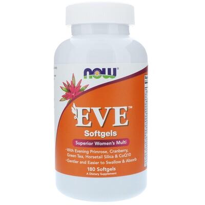 Купить Now Foods EVE, превосходные мультивитамины для женщин, 180 мягких таблеток