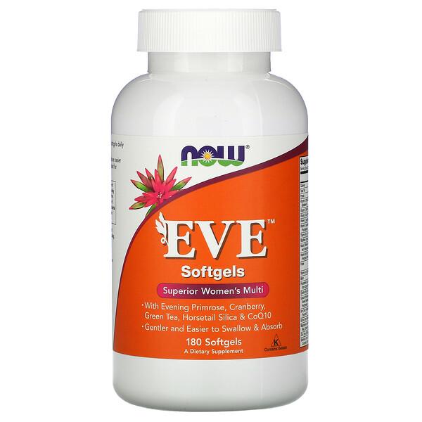 Now Foods, מולטי ויטמין מיטבי לנשים של EVE, 180 כמוסות ג'ל