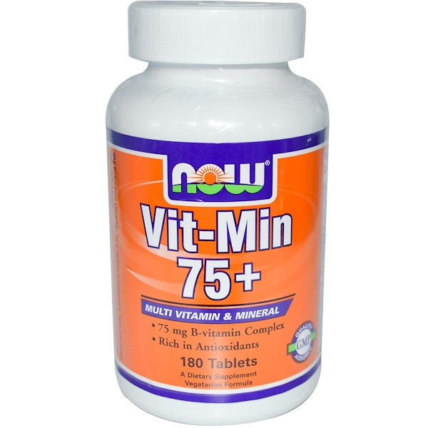 Now Foods, Vit-Min 75+, Multi Vitamin & Mineral, 180 Tablets (Discontinued Item)