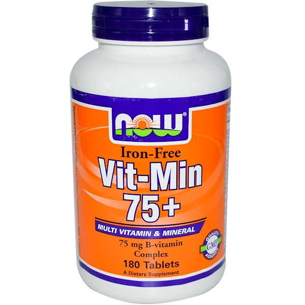 Now Foods, Vit-Min 75+, Iron-Free, 180 Tablets (Discontinued Item)