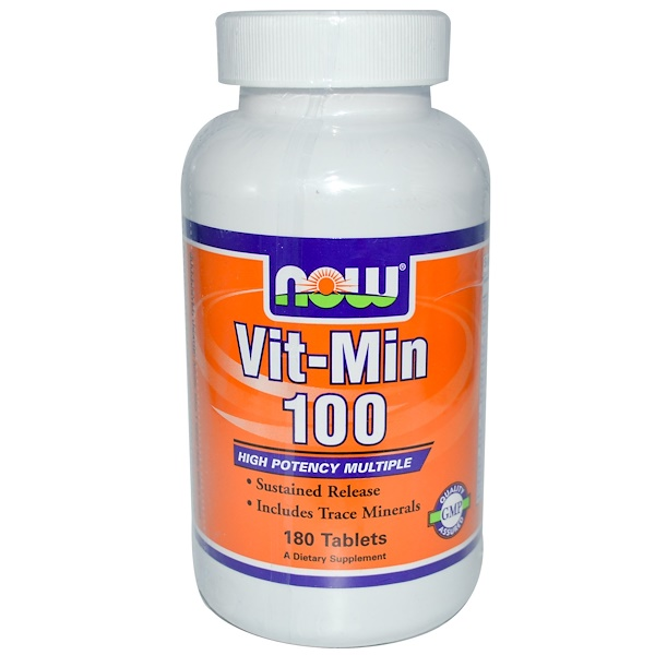 Now Foods, Vit-Min 100, Sustained Release, 180 Tablets (Discontinued Item)