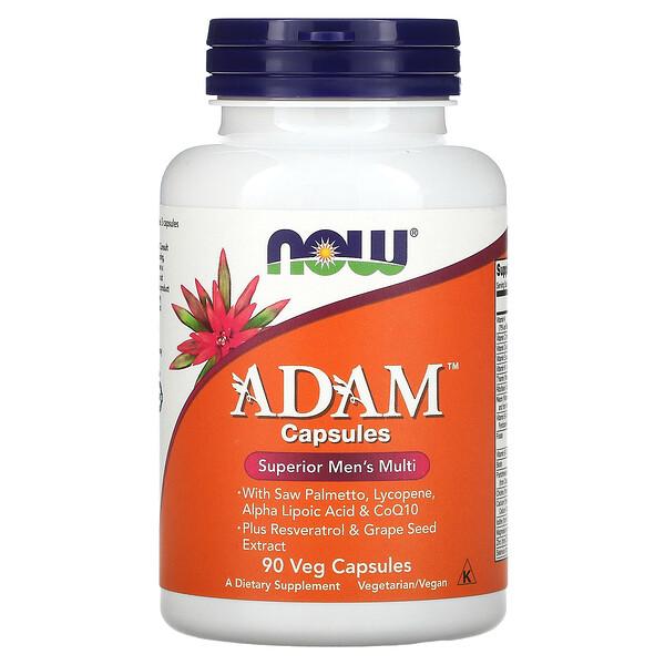 Now Foods, ADAM, превосходные мультивитамины для мужчин, 90растительных капсул