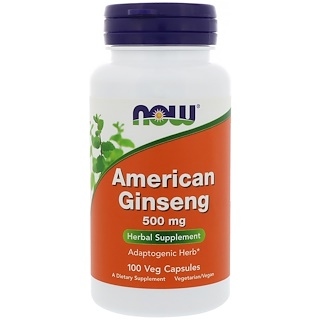 Now Foods, Ginseng americano, 500 mg, 100 cápsulas