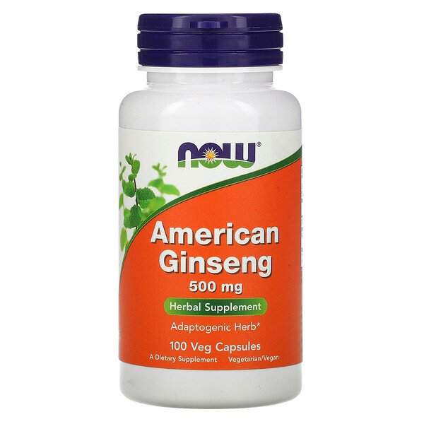 Now Foods, Ginseng Americano, 500 mg, 100 Cápsulas Vegetais