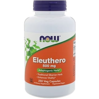 Now Foods, Eleuthero, 500 mg, 250 cápsulas vegetales