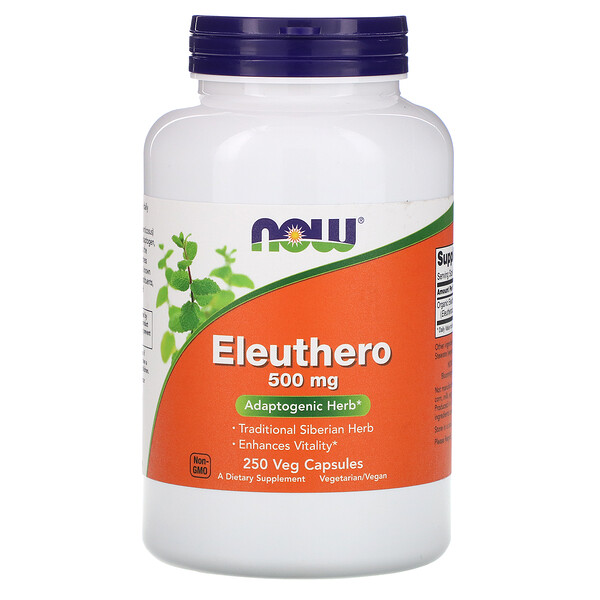 Now Foods, Eleuthero, 500 mg, 250 Veg Capsules