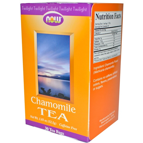 Now Foods, Chamomile Tea, Caffeine Free, 30 Tea Bags, 1.85 oz (52.5 g) (Discontinued Item)