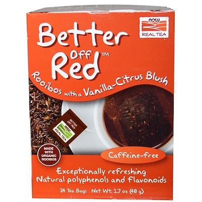 Real Tea, Better Off Red, Красный чай ройбуш с нотами ванили и цитруса без кофеина, 24 чайных пакетика, 1,7 унции (48 г)