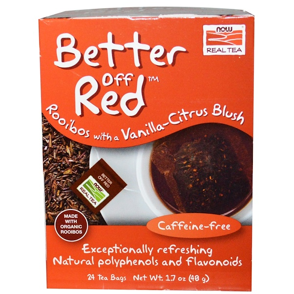 Té real, Better Off Red, Rooibos con vainilla y citrus, sin cafeína, 24 saquitos de té, 1.7 oz (48 g)