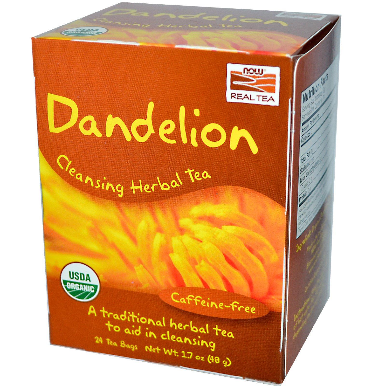 Now Foods, Real Tea, Dandelion Cleansing Herbal Tea ...