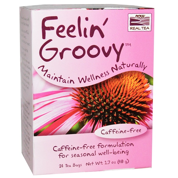 Now Foods, Real Tea, Feelin' Groovy, Caffeine-Free, 24 Tea Bags, 1.7 oz (48 g) (Discontinued Item)