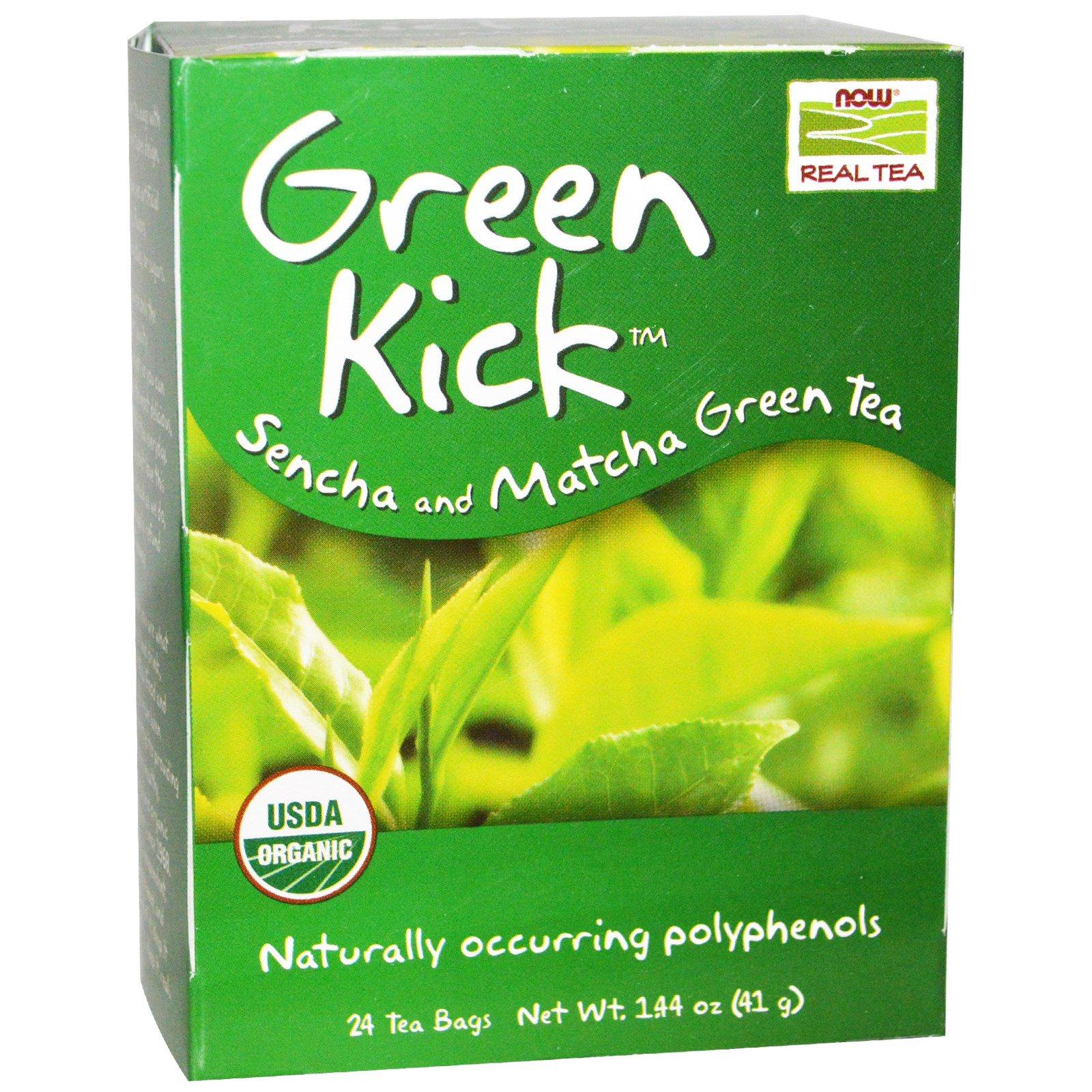 now foods organic real tea green kick 24 tea bags 144 oz