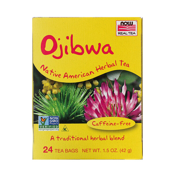 Now Foods, Real Tea, Ojibwa, Caffeine-Free, 24 Tea Bags, 1.5 oz (42 g)