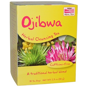 Now Foods, Настоящий чай оджибве, без кофеина, 24 пакетика, 1.5 унций (42 г) инструкция, применение, состав, противопоказания